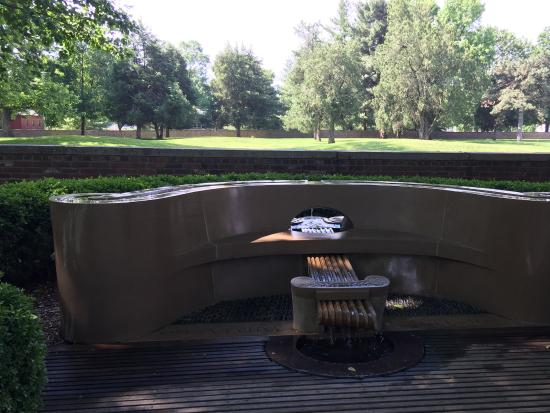 New Harmony, IN: The water feature, in the style of Orpheus' lyre