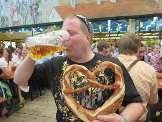 large beer and pretzel at oktoberfest picture of oktoberfest