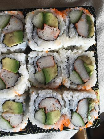 Hana Japanese Restaurant: 12 piece cali roll, take-out from Hanas. The avocado is rotten. What a shame, overrated.