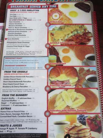 Clarks Summit, Pensilvania: Breakfast menu