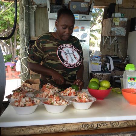 Bimini: mixing up the conch salad fresh.
