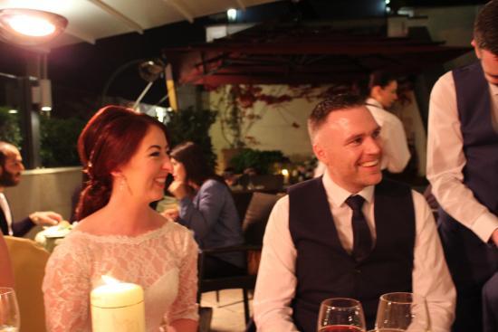 Enjoying our reception dinner at Hotel Savoy.