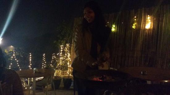 Market Cafe: roof top lights in winters