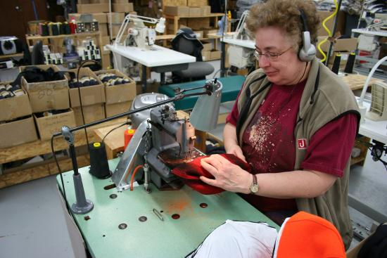 Awesome Stormy Kromer Factory Tour: One Of Our Sewing Machine Operators Working On  A Cap.
