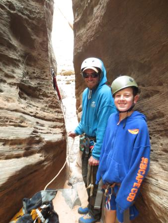 Springdale, UT: With our guide Jack, second rappel, Kolob Terrace