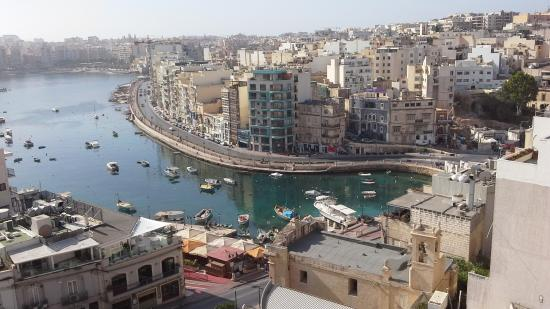 Spinola Bay from roof top of Argento Hotel