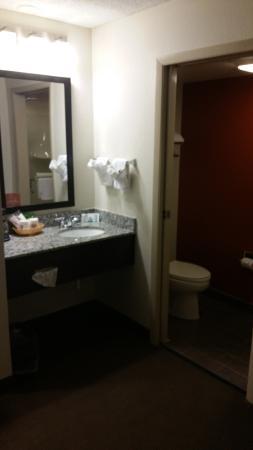 Sleep Inn: Wastafel apart van de badkamer