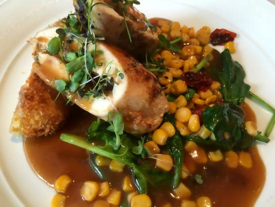 Naboen : Norwegian farm chicken with blue cheese croquettes, corn and saison beer sauce. OMG!