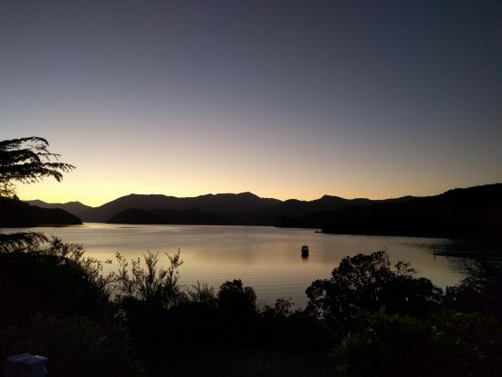 Portage Hotel and resort: sun gone down from restaurant deck