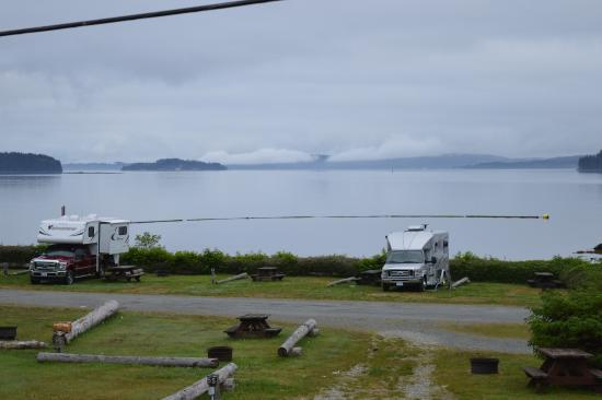 Port McNeil, Canada: View of Alder Bay from campsite