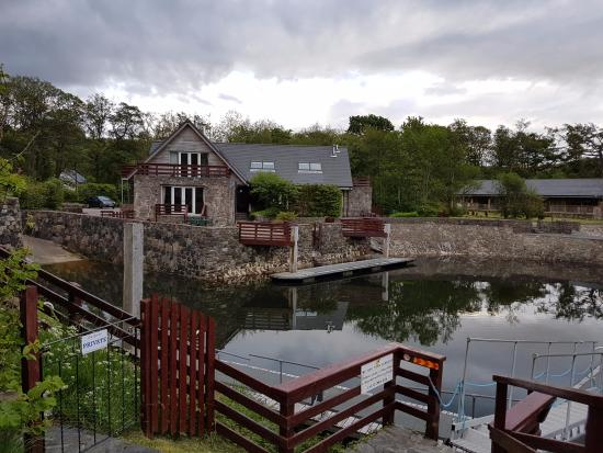 Kilmelford, UK: View from the harbour of the house we stayed in
