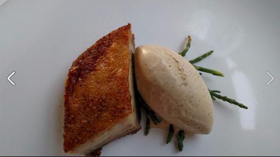 Depoe Bay, OR: pork belly over sea grass with espresso ice cream.