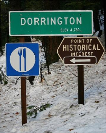 Dorrington, Kalifornia: Highway Sign