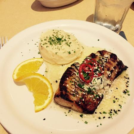 Sablefish with a side of mashed potatoes.