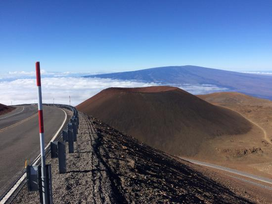 Mauna Kea Summit: looking down at the tall cinder cone from the 'sacred summit'