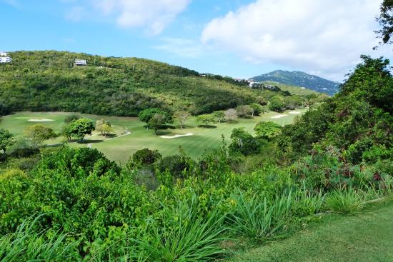 North Side, St. Thomas: 3rd hole on a raised tee deck to a tough par 5