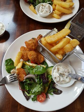 Wilmington, UK : Posh scampi with home made Tartar sauce... Bloody lovely!