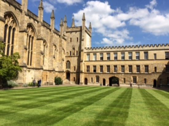 New College: The quad, fellows only on the grass here