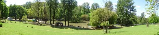 Cranham, UK: A panoramic view towards the pond at Prinknash Bird and Deer Park