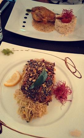 Auvers-sur-Oise, Francia: Pintade sauce moutarde et son riz, Pavé de saumon avec sa panure croustillante et ses vermicelle