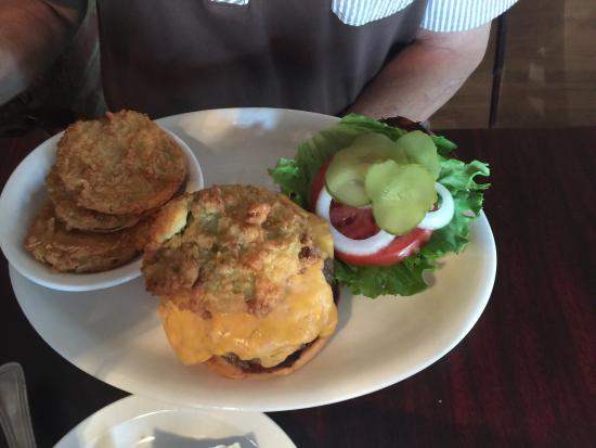 Canton, NC: Shrimp and grits with a side of fried cabbage. Halo burger with a side of fried green tomatoes.