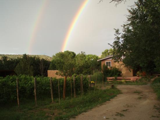 Dixon, NM: Double Rainbow over La Chiripada vines.