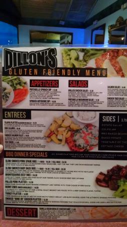 Litchfield Park, AZ: Dillon's Gluten-free menu