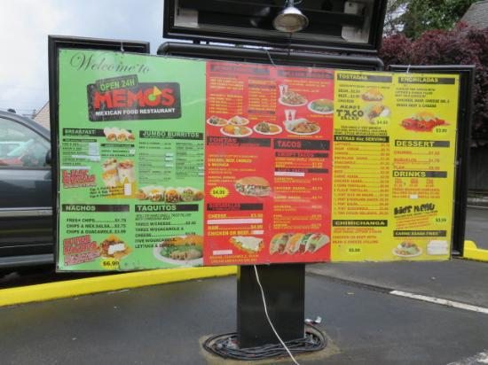 menu at drive thru picture of memo s everett tripadvisor