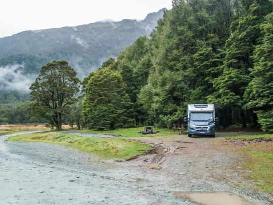 DOC Cascade Creek Campsite : Was very wet when we visited, bit boggy in places, near trees most protected spot from strong wi