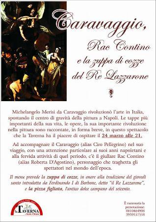 La Taverna a Santa Chiara: Cena spettacolo su Caravaggio e la cucina del seicento