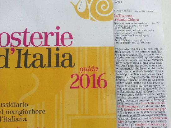 La Taverna a Santa Chiara: Siamo sulla guida Slow Food 2016!!