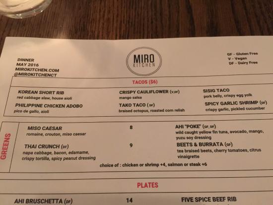 Fairfield, كونيكتيكت: Miro Kitchen menu
