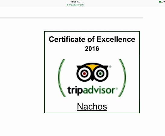 Nachos: Certificate of exellence