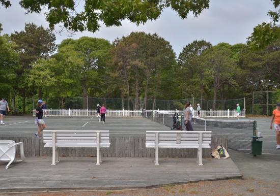 These are the tennis courts at the Island Inn. Very well maintained.