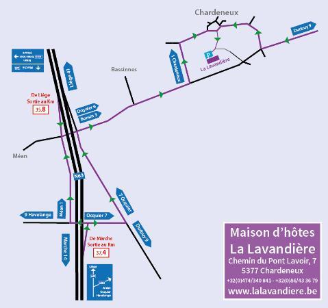 Somme-Leuze, Belgique : Plan d'accès