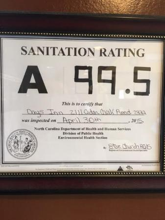 Days Inn Fayetteville-South/I-95 Exit 49: Sanitation Score