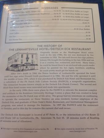 History of Deitsch Eck Restaurant