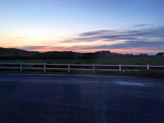 Beautiful sunset view of the Ballybunion Cashen Golf Course from our room at the 19th Lodge.