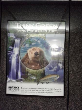 Holiday Inn Express Toledo-Oregon: Poster in elevator, which does not reflect hotel's actual practices