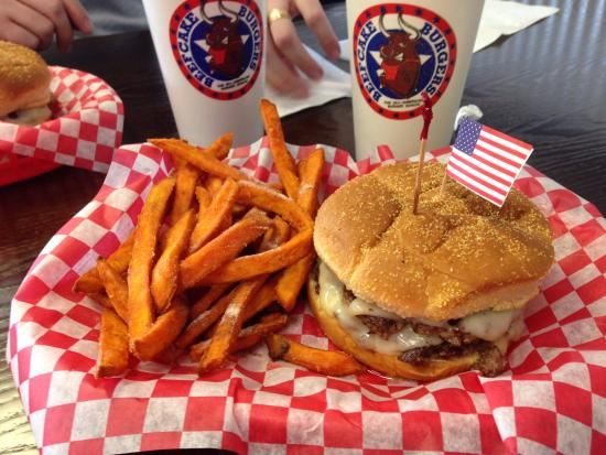 Martinsville, IN: Double with Swiss Cheese, Ketchup, Mustard, Sweet Potato Fries