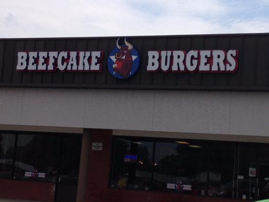 Sign over entrance to Beefcake Burger in Martinsville, Indiana