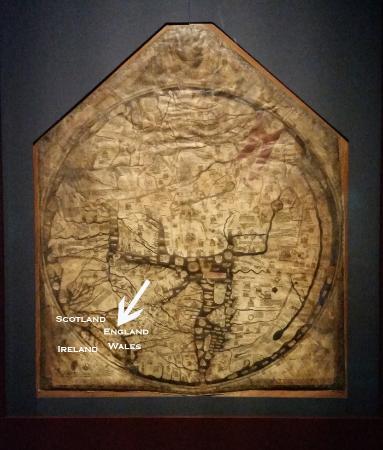 Херефорд, UK: Mappa Mundi showing Great Britain