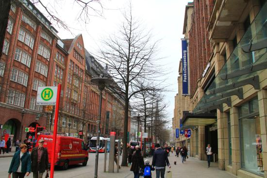 d51a4d9742f3f0 Moenckebergstrasse Shopping  The street with Peek   Cloppenburg department  store on the right