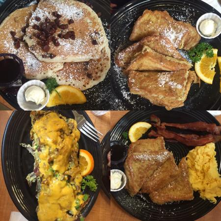 Los Gatos, Kalifornia: Top left is chocolate pancakes, top right is French toast, the scramble and French toast sandwic