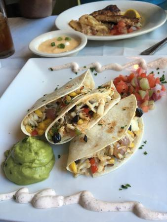 PJ's Seagrille : Delicious crab quesadillas, blackened grouper and cheese grits.