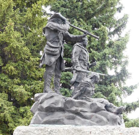Fort Benton, Монтана: Lewis & Clark and Sacajawea on the Sidewalk Park Walk