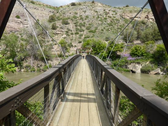 Ryan Dam - Great Falls of the Missouri: Suspension bridge at Ryan Dam