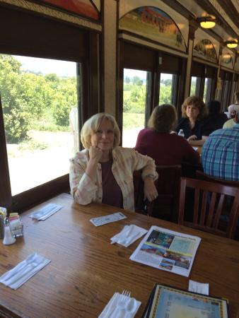 Fillmore, CA: Sitting in the dining car.