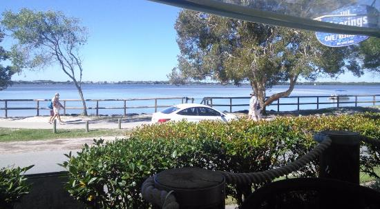 The Moorings Cafe/Restaurant: The view over Pumice Stone Passage to Bribie Island.