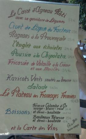 Menu Picture Of La Colombe Dor St Paul De Vence Tripadvisor